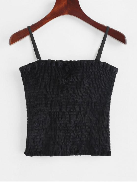 fancy Smocked Ruched Velvet Cami Top - BLACK S