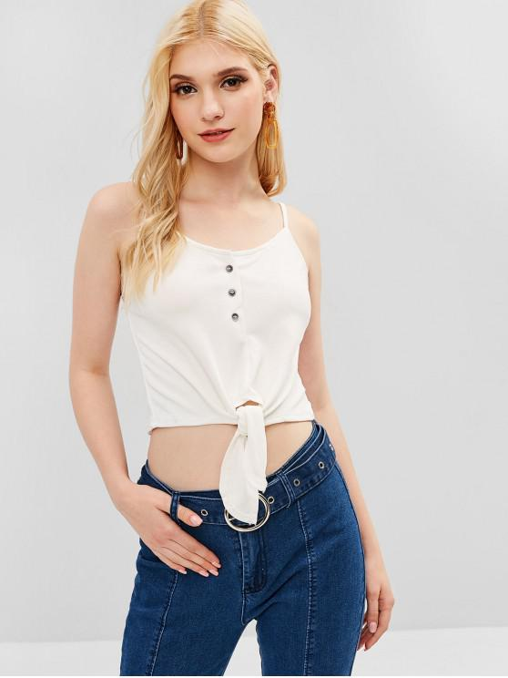 womens Knotted Hem Crop Cami Top - WHITE S
