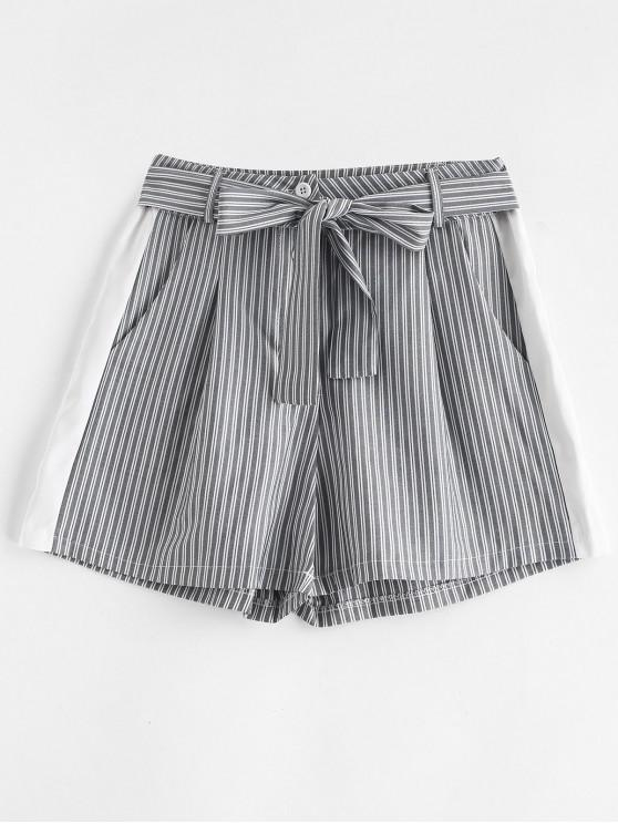 fashion High Waist Striped Belted Shorts - GRAY L