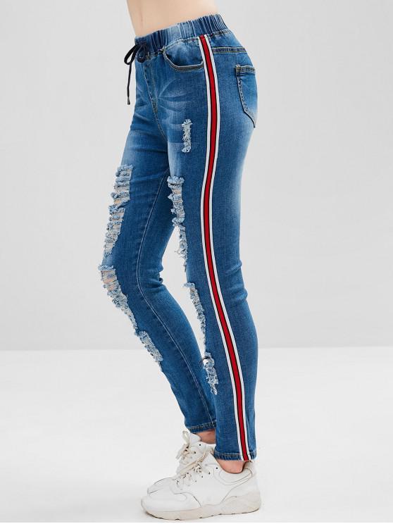 63b1b8d20d 33% OFF  2019 Jeans Skinny Destruído Com Stripes Com Azul Denim ...