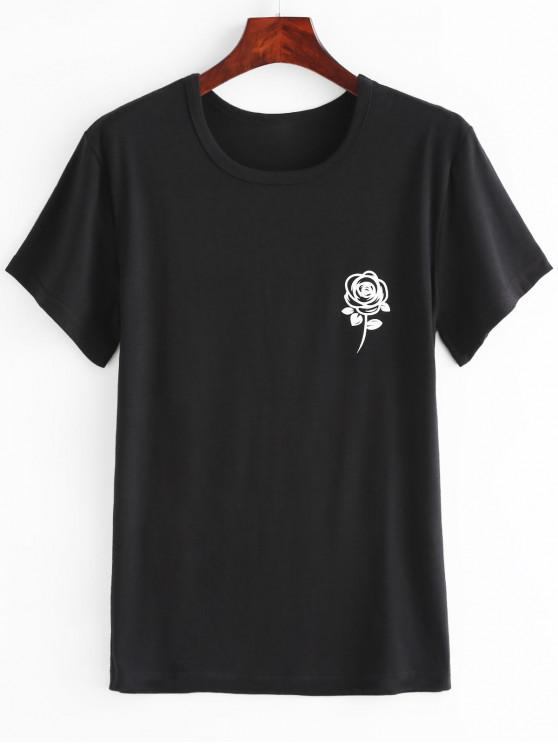 women's Floral Print Graphic Tee - BLACK S