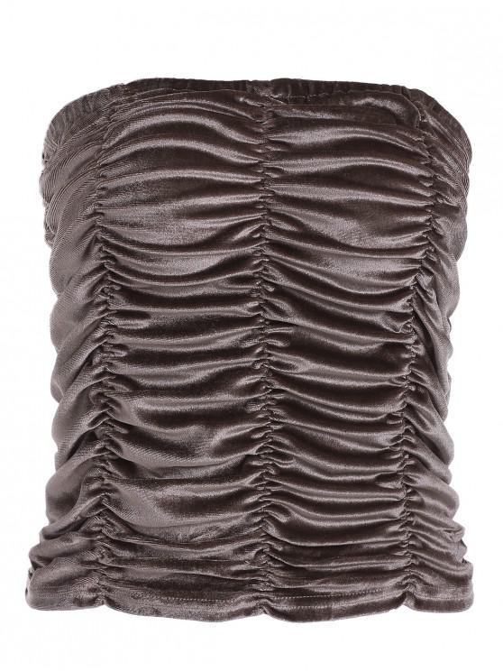 Geraffte Samt Bandeau Top - Dark Khaki XL