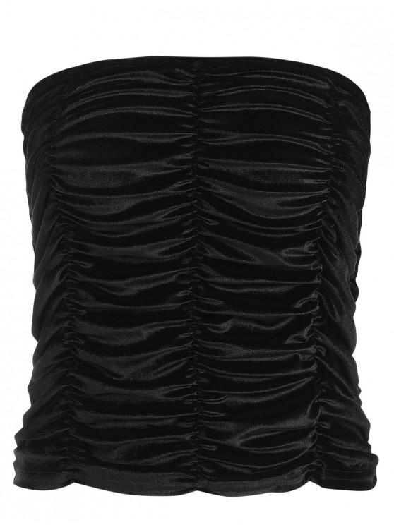 unique Ruched Velvet Bandeau Top - BLACK M
