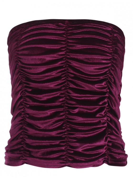 women Ruched Velvet Bandeau Top - MAROON XL