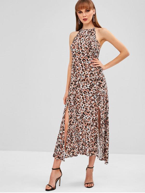 unique Halter Slit Leopard Backless Dress - LEOPARD L