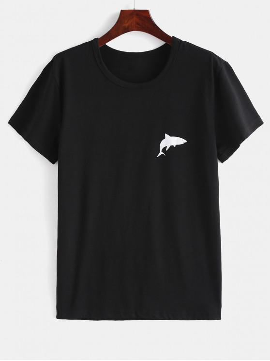 outfits Dolphin Print Graphic Tee - BLACK M