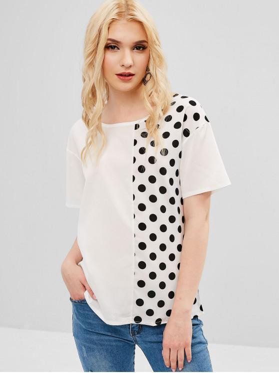 Tee-shirt manches courtes à pois - Blanc S