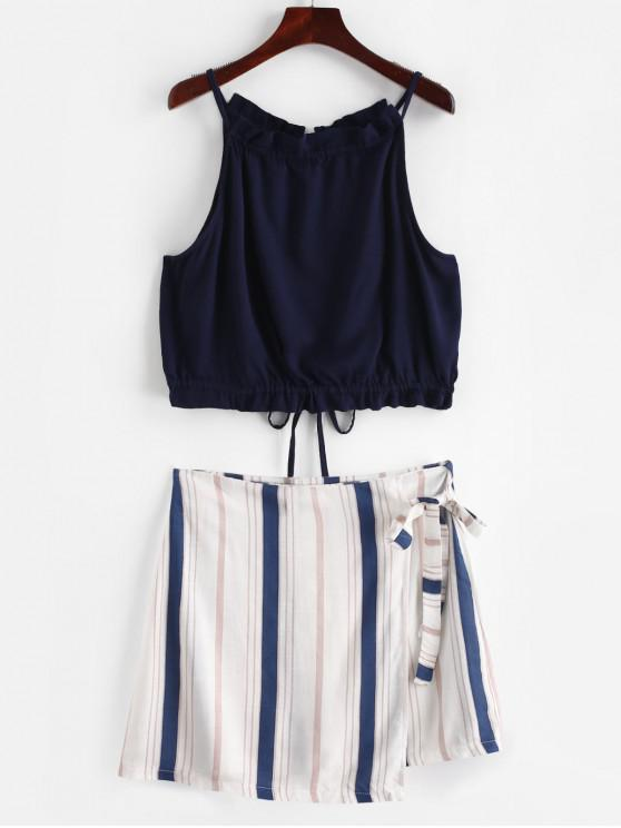 sale ZAFUL Contrast Stripes Top And Skirt Set - MULTI L