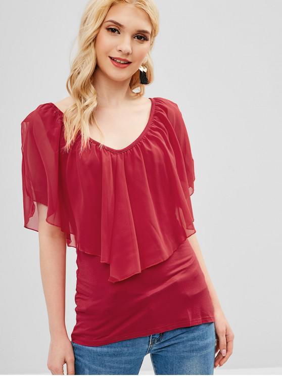 womens Split Sleeves Plain Overlay Tee - RED XL