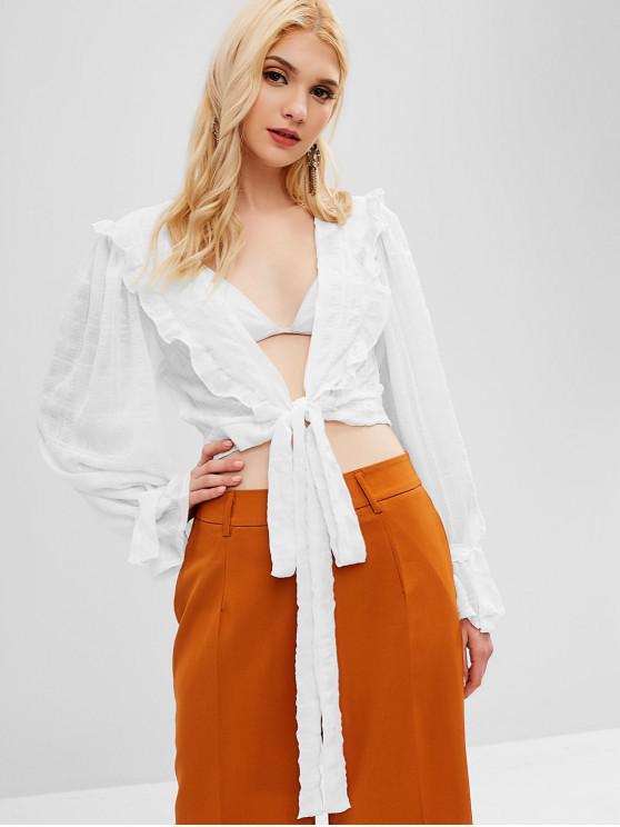 sale Ruffles Tie Front Blouse - WHITE L