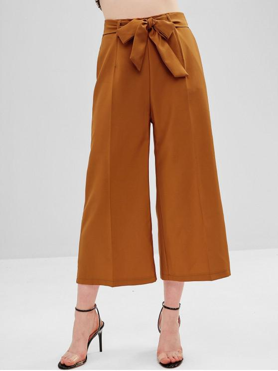 chic High Waisted Belted Wide Leg Pants - TIGER ORANGE M