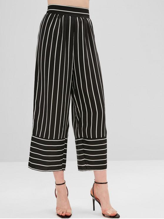 shops High Waist Striped Wide Leg Pants - BLACK S