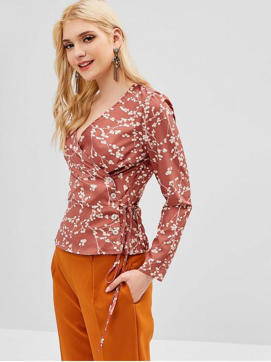 chic Long Sleeve Tiny Floral Wrap Blouse - DARK SALMON S