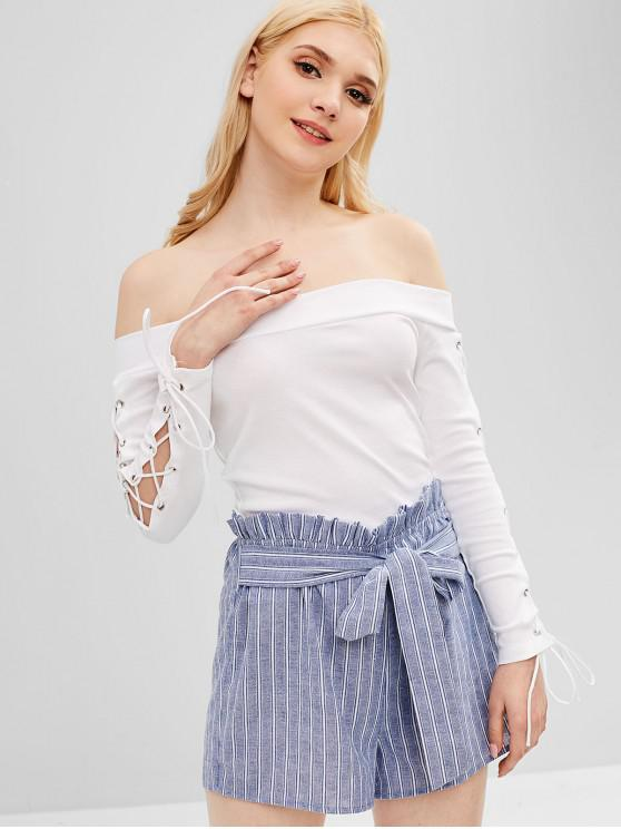 buy Off Shoulder Lace Up Tee - MILK WHITE ONE SIZE