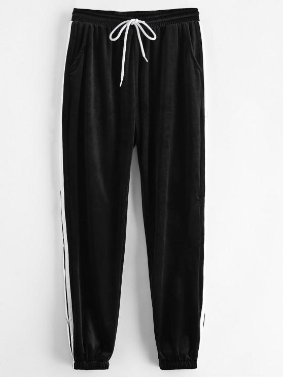 Sporty Velvet Joggers pantalones de chándal - Negro L