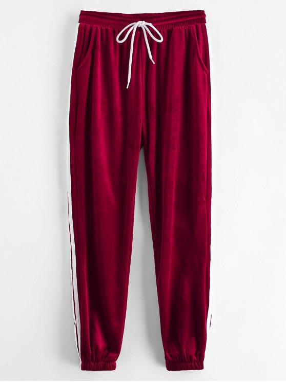 online Sporty Velvet Joggers Sweat Pants - RED WINE M