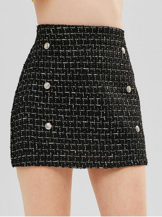 sale Checkered Glittering Tweed Mini Skirt - BLACK S
