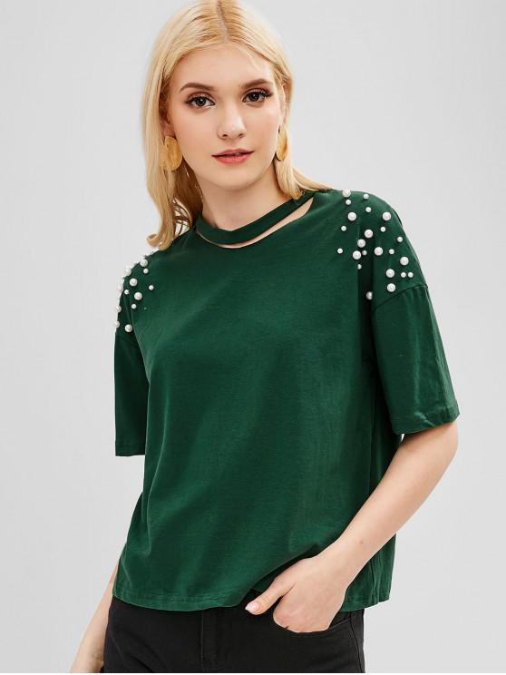 best Faux Pearl Beaded Slashed Neck Tee - MEDIUM SEA GREEN XL