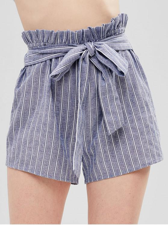 ladies ZAFUL Striped Knotted Wide Leg Shorts - PASTEL BLUE L