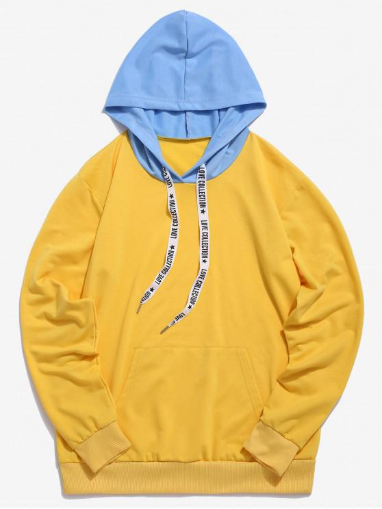 latest ZAFUL Kangaroo Pocket Letter Printed Drawstring Hoodie - BRIGHT YELLOW S