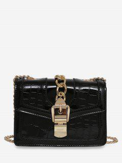 Geometric Flap Chain Crossbody Bag - Black