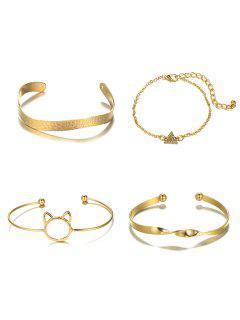 4pcs Bracelet En Forme De Tête De Chat Creux - Or