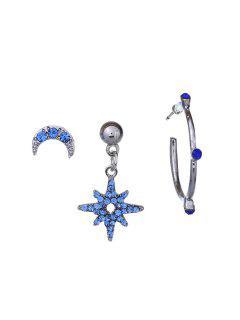 Moon Design Rhinestone Earrings Set - Silver