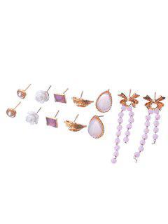 Bowknot Fringe Leaf Flora Stud Earrings Set - Gold