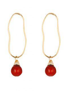 Metal Irregular Ring Bead Small Ball Earrings - Red