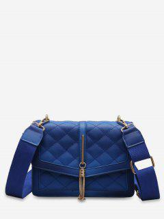 Tassels Decor Quilted Crossbody Bag - Blue