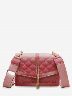 Tassels Decor Quilted Crossbody Bag - Pink