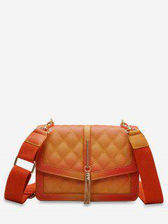 Tassels Decor Quilted Crossbody Bag - Yellow
