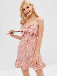 ZAFUL Cut Out Gingham Cami Dress - Light Pink S