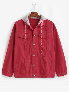 Veste à Capuche Déchirée Avec Quatre Poches - Rouge Cerise Xs