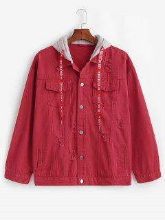 Contrast Hood Distressed Denim Jacket - Cherry Red M