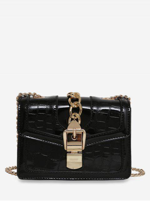 fashion Geometric Flap Chain Crossbody Bag - BLACK  Mobile
