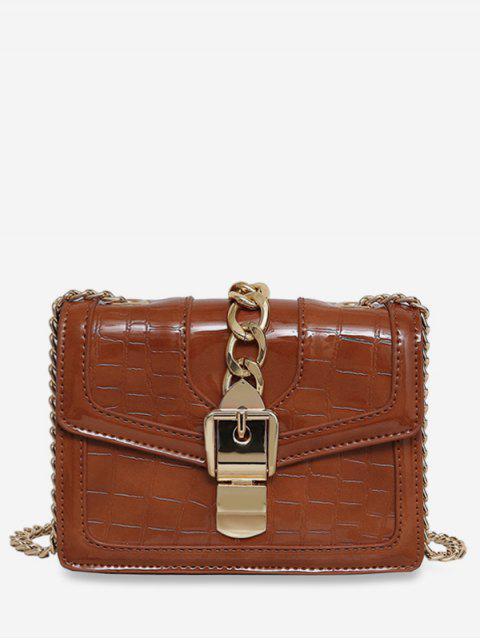 trendy Geometric Flap Chain Crossbody Bag - BROWN  Mobile