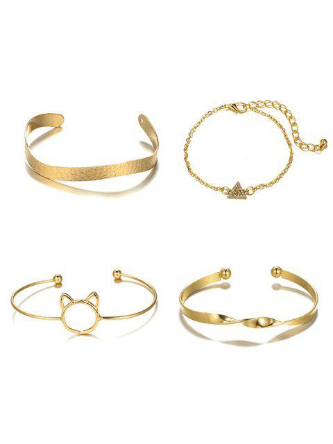 online 4Pcs Hollowed Cat Head Shape Bracelet Set - GOLD  Mobile