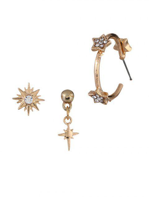 buy Rhinestone Inlaid Star Design Earrings Set - GOLD  Mobile
