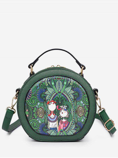 trendy Printed Top Handle Round Crossbody Bag - GREEN  Mobile