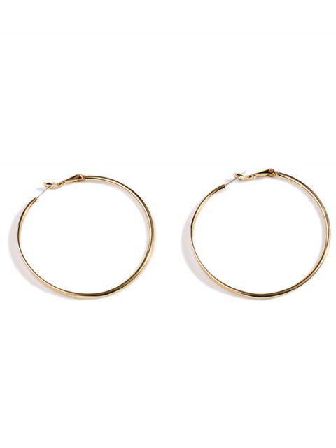 womens Brief Style Classic Metal Big Hoop Earrings - GOLD  Mobile
