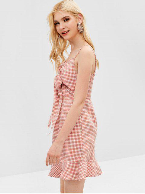 unique ZAFUL Cut Out Gingham Cami Dress - LIGHT PINK M Mobile