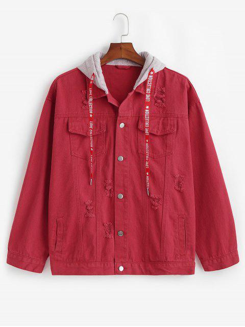 Veste à Capuche Déchirée avec Quatre Poches - Rouge Cerise XS Mobile