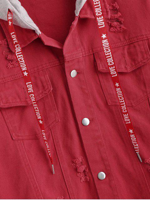 women Contrast Hood Distressed Denim Jacket - CHERRY RED M Mobile