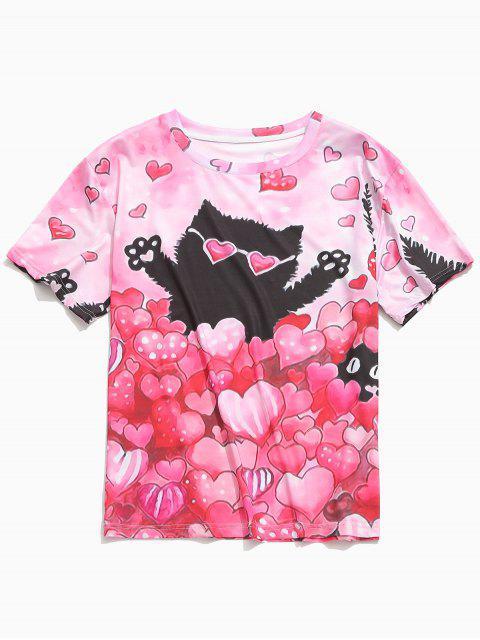Camiseta de manga corta con estampado de gatos de Love Hearts, día de San Valentín - Sandía Rosa L Mobile