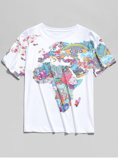 shops World Map Painting Print Short Sleeves T-shirt - MULTI 2XL Mobile