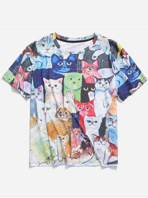 chic Short Sleeves Cats Printed Casual T-shirt - MULTI XL Mobile
