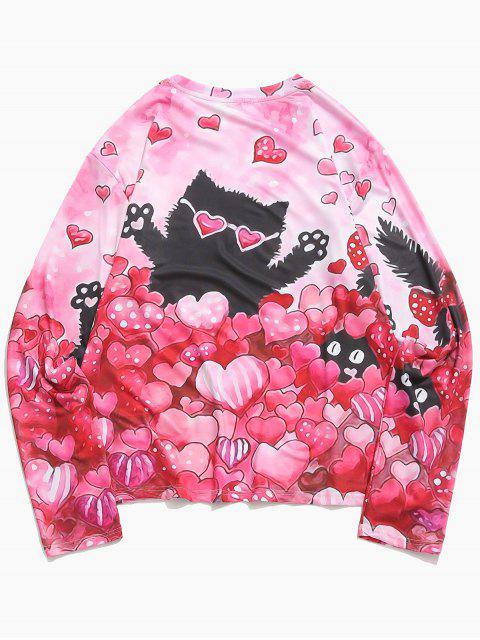 womens Valentine's Day Hearts Cat Print Long Sleeves Casual T-shirt - FLAMINGO PINK XL Mobile