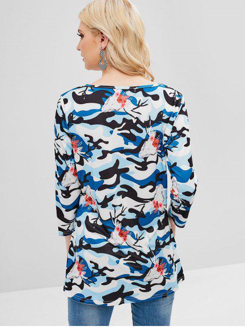 T-shirt Camouflage Croisé Fleuri Graphique Imprimé - Multi-A XL Mobile