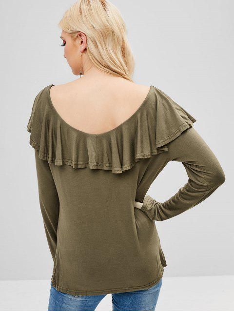 outfits Criss Cross Plain Flounce Tee - ARMY GREEN XL Mobile